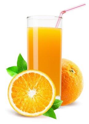 Наклейка Стакан апельсинового сока на белом фоне