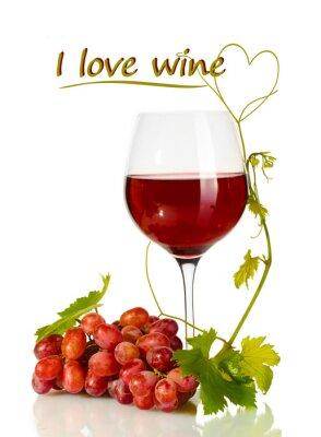 Наклейка Бокал вина и спелого винограда с я тебя люблю вино текст изолированные