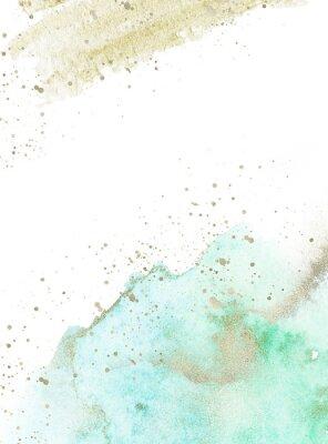 Наклейка Gold, blue and turquoise watercolor texture design. Brush stroke frame / border. Shimmering modern art. Illustration.