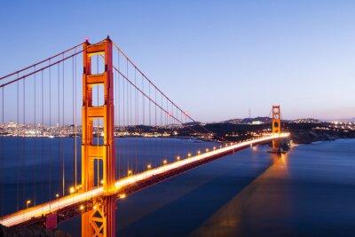 Наклейка Золотые ворота мост в голубое небо на рассвете
