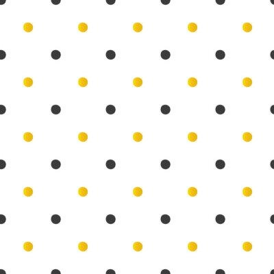 Наклейка Золотой и черный горошек бесшовные модели фона.