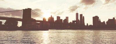 Наклейка Золотой закат над Манхэттена горизонты, Нью-Йорк, США