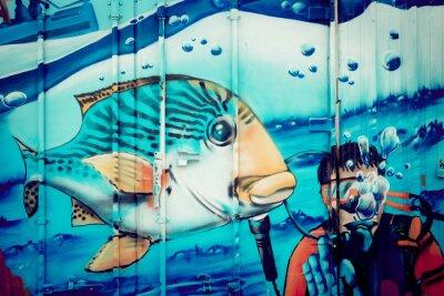 Наклейка Граффити аквариум Plongeur