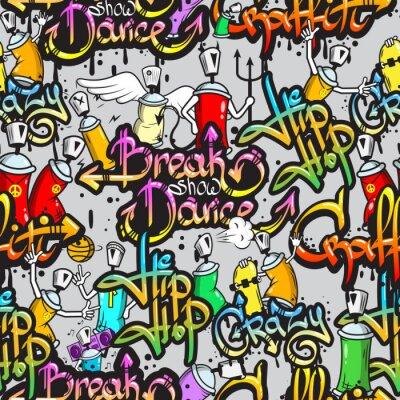 Наклейка Граффити символов бесшовный фон