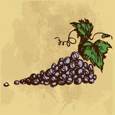 Наклейка Виноград рука рисунок