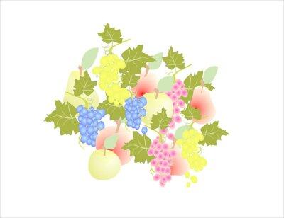 Наклейка виноград груши яблоко - фрукты осенью,