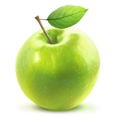 Наклейка Зеленое яблоко и Leafe изолированы с отсечения путь