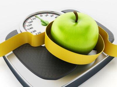 Наклейка Зеленое яблоко и ленты мера на вес масштабе