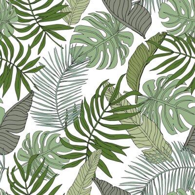 Наклейка Зеленый банан, монстера, пальмовых листьев с белым фоном. Векторный бесшовные модели. Иллюстрация тропических джунглей листвы. Озеленение экзотических растений. Летний пляж цветочный дизайн. Рая приро