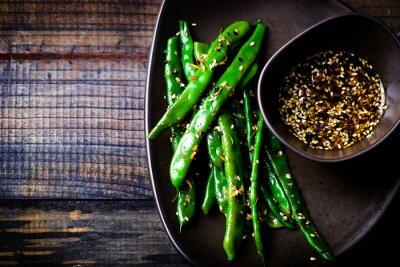 Наклейка зеленые бобы в соусе кунжутное Азии