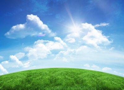 Наклейка Зеленый холм под голубым небом