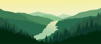 Наклейка Зеленый горный пейзаж с рекой в долине.