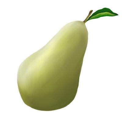 Наклейка Зеленая груша на белом фоне