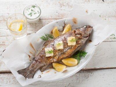 Наклейка Жареная рыба