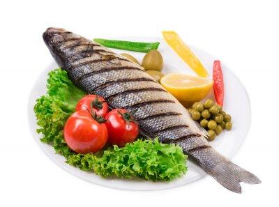 Наклейка Жареная рыба с овощами.
