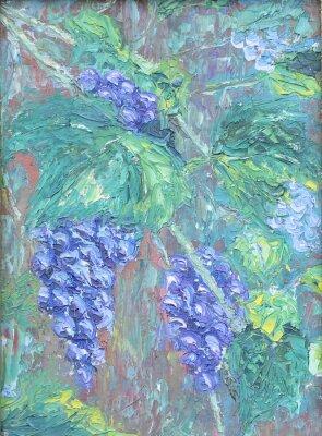 Наклейка выращивание винограда, живопись маслом