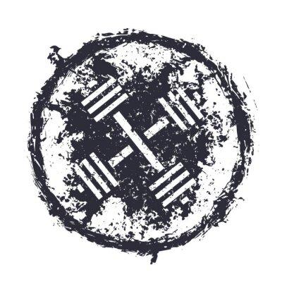 Наклейка grunge emblem with crossed barbells vector illustration, eps10