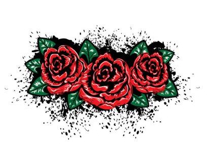 Наклейка Гранж Розы с Splatters