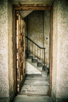 Наклейка Шероховатый отказались домой с дверью и лестницей