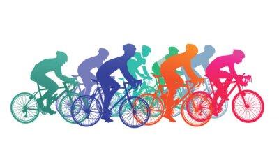 Наклейка Gruppe von Radfahrer im Fahrradrennen