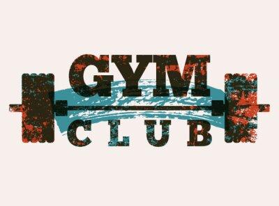 Наклейка Gym Club typographic vintage grunge poster design. Retro vector illustration.