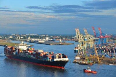 Наклейка Hamburger Hafen, Containerschiff, Контейнер, Schlepper, Vorhafen, Эльбы, Гамбург