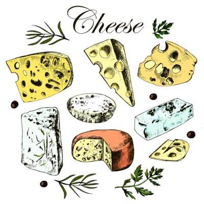 Наклейка Рука рисунок набор с различными сырами