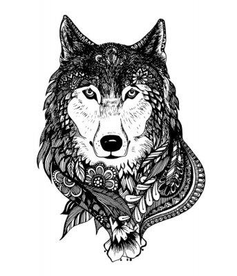 Наклейка Ручной обращается абстрактные волк векторные иллюстрации