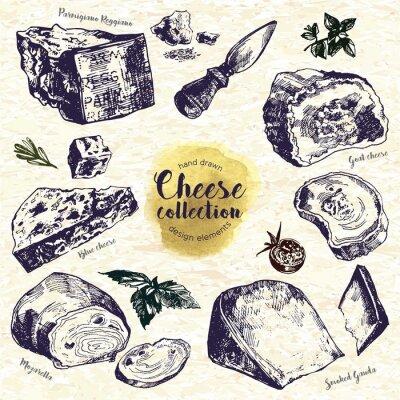 Наклейка Рисованной Сыр Set