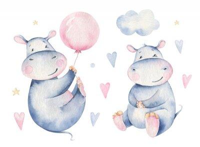 Наклейка Hand drawn cute isolated tropical summer watercolor hippo animals. hippopotamus baby and mother cartoon animal illustrations, jungle tree, brazil trendy design. Aloha collection.