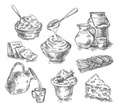 Наклейка рисованной молочные продукты, молоко, сыр. эскиз