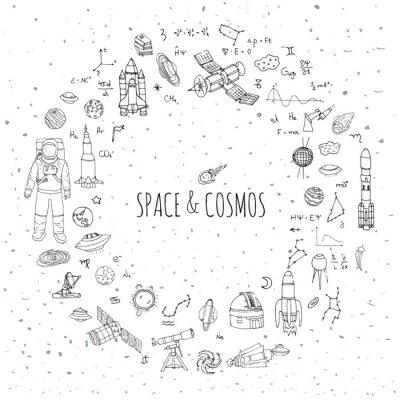 Наклейка Ручной обращается рисунок Космос и Космос набор векторные иллюстрации Вселенная коллекция иконок Space концепция элементы Ракетные символы Космический корабль планет Солнечной системы Галактики Млечны