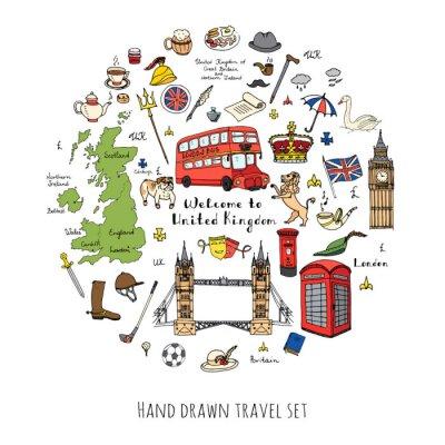Наклейка Ручной обращается рисунок Соединенное Королевство набор векторные иллюстрации Великобритании иконки Добро пожаловать в Лондон элементы британской коллекции символы Чай автобус Верховая езда Гольф Коро