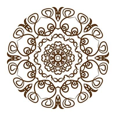 Наклейка Ручной обращается татуировка хной мандалу. Вектор кружева орнамент.