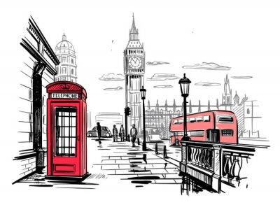 Наклейка hand drawn landscape of London city