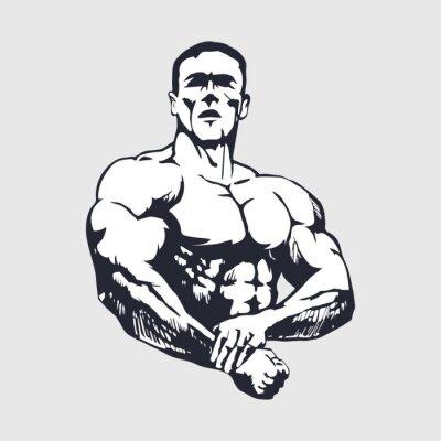 Наклейка Ручной обращается мускулистый мужчина - Культурист