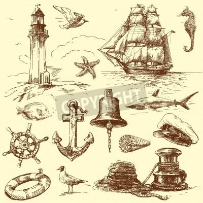 Наклейка hand drawn nautical collection