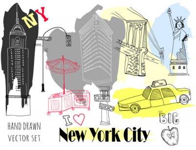 Наклейка Ручной обращается Нью-Йорк элементы. Цветной графический векторный набор