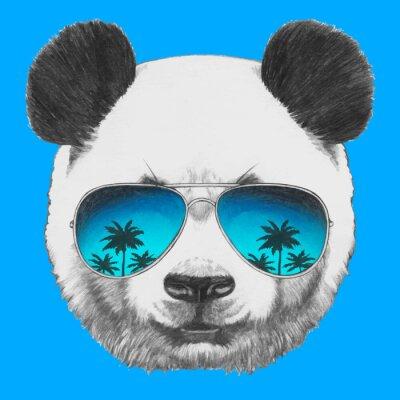 Наклейка Ручной обращается портрет Panda с зеркальными солнцезащитные очки. Вектор изолированных элементов