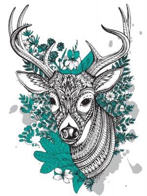 Наклейка Ручной обращается вектор рогатый олень с высоким уровнем детализации украшение