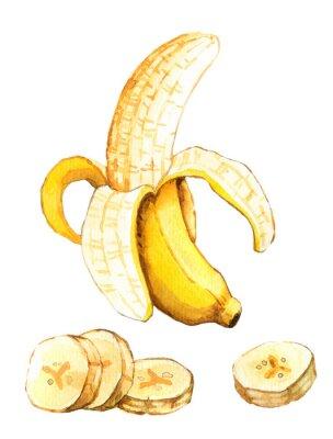 Наклейка Ручной обращается акварель иллюстрации банана