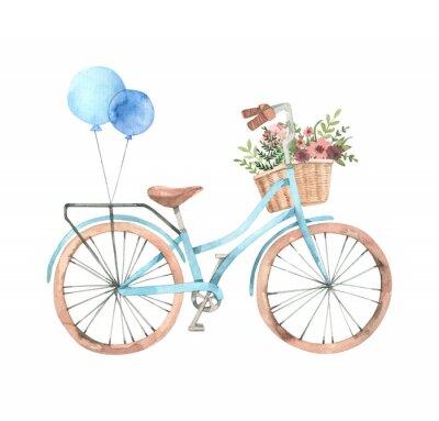 Наклейка Ручной обращается акварель иллюстрации - Романтический велосипед с цветочной корзиной в пастельных тонах. Городской велосипед. Амстердам. Идеально подходит для приглашения, открытки, плакаты, печать