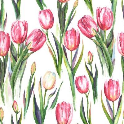 Наклейка Ручной рисунок акварель бесшовные с розовыми и белыми цветами тюльпана. Повторная пружинная печать для текстиля, обоев. Нежный и красивый фон