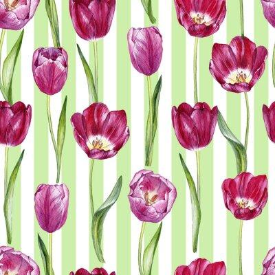 Наклейка рисованная акварель бесшовные шаблон с тюльпанами