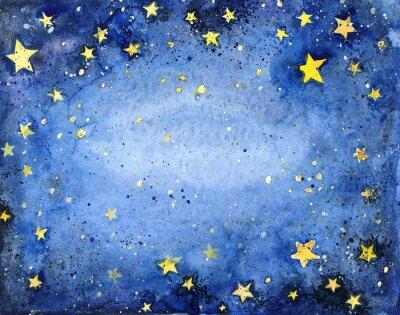 Наклейка Ручная роспись акварель голубое небо с яркими звездами