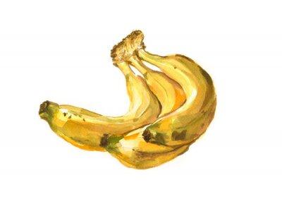Наклейка Ручная роспись акварель иллюстрация бананов