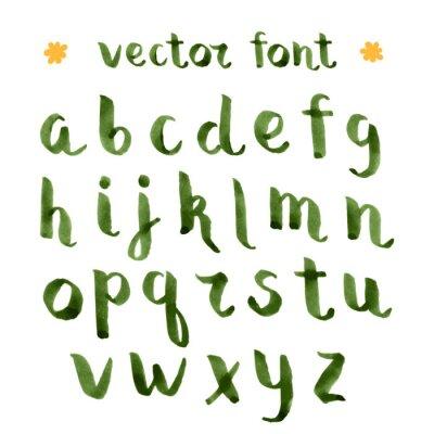 Наклейка Ручной чернил зеленый алфавит.