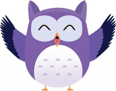 Наклейка Симпатичная вектор фиолетовый сова