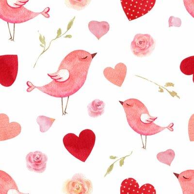 Наклейка Счастливый день Святого Валентина акварель вектор бесшовный фон.
