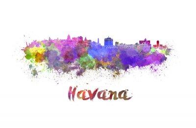 Наклейка Havana skyline in watercolor